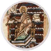 St. Matthew, 10th Century Round Beach Towel