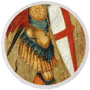 St Michael And The Dragon Round Beach Towel