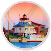 St. Michael's Lighthouse Round Beach Towel
