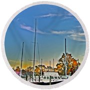 St. Michael's Marina On The Chesapeake Round Beach Towel