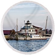 St Michael's Maryland Lighthouse Round Beach Towel