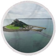 St Michaels Mount Aerial Round Beach Towel