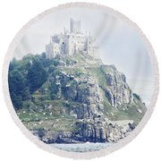St Michael's Mount Cornwall England Round Beach Towel