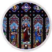 St. Michael's Parish Stained Glass Round Beach Towel