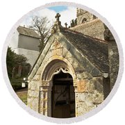 St Mylor And Bell Tower Round Beach Towel