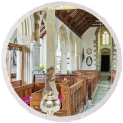 St Mylor Cross Reflections Round Beach Towel