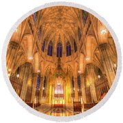 St Patrick's Cathedral Manhattan New York Round Beach Towel