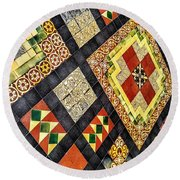 St. Patrick's Cathedral Mosaic Floors Round Beach Towel