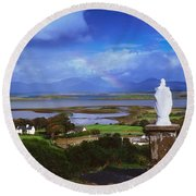 St Patricks Statue, Co Mayo, Ireland Round Beach Towel