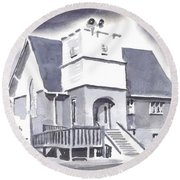 St Paul Lutheran With Ink Round Beach Towel