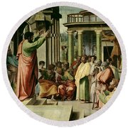 St. Paul Preaching At Athens  Round Beach Towel by Raphael