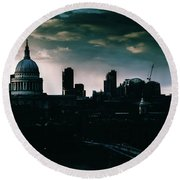 St Paul's Cathedral And Millennium Bridge In The Evening In London, England Round Beach Towel