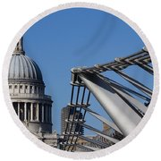 St Pauls Cathedral And The Millenium Bridge  Round Beach Towel