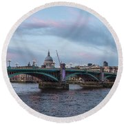 St. Paul's Cathedral Behind The Southwark Bridge During Sunset Round Beach Towel