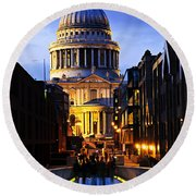St. Paul's Cathedral From Millennium Bridge Round Beach Towel