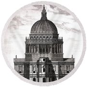 St. Pauls Drawn By Christopher Wren Round Beach Towel