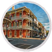 St Peter St New Orleans Round Beach Towel
