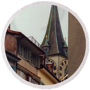 St. Peter Tower Zurich Switzerland Round Beach Towel by Susanne Van Hulst
