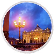 St. Peters Cathedral At Night Round Beach Towel