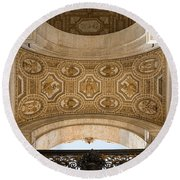 St Peter's Ceiling Detail Round Beach Towel