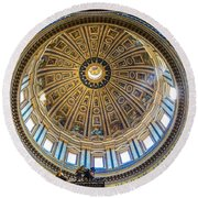 St. Peters Inside The Dome Round Beach Towel