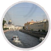 St. Petersburg Canal - Russia Round Beach Towel