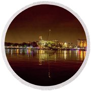 St Petersburg, Fl, Skyline At Night Round Beach Towel