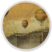 St Petersburg With Air Baloons Round Beach Towel by Jeff Burgess