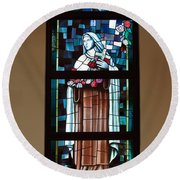 St. Theresa Stained Glass Window Round Beach Towel