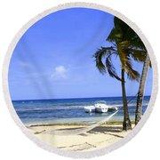 St Thomas Beach Hamocks And Boats Iggys Round Beach Towel
