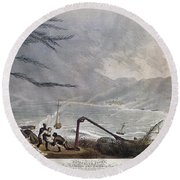 St. Thomas: Hurricane, 1819 Round Beach Towel