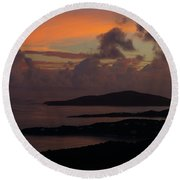 St Thomas Sunset At The U.s. Virgin Islands Round Beach Towel