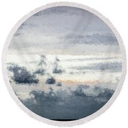 St Thomas - Sunset Over A Small Island Round Beach Towel