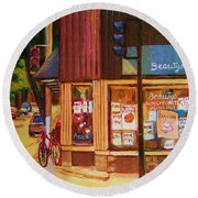St Urbain And Mount Royal Round Beach Towel