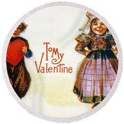 St. Valentines Day Card Round Beach Towel