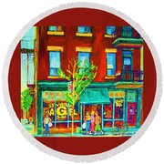 St Viateur Bagel Shop Round Beach Towel