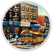 St. Viateur Bagel With Hockey Bus  Round Beach Towel