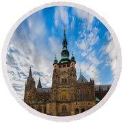 St  Vitus Cathedral In Prague Round Beach Towel