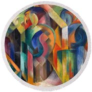 Stables By Franz Marc Bright Painting Of Horses In A Stable Round Beach Towel