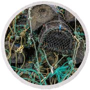 Stacked Crab Traps Round Beach Towel