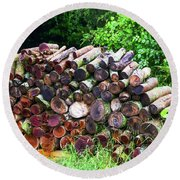 Stacked Firewood Round Beach Towel