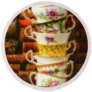 Stacked High Tea Cups Round Beach Towel