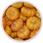 Stacked Mini Pumpkins Round Beach Towel