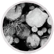 Stacked Wood Logs In Black And White Round Beach Towel