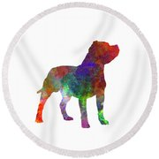 Staffordshire Bull Terrier In Watercolor Round Beach Towel