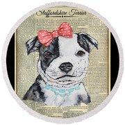 Staffordshire Terrier-jp3857 Round Beach Towel