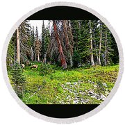 Stag Forest Round Beach Towel
