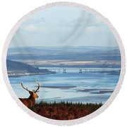 Stag Overlooking The Beauly Firth And Inverness Round Beach Towel