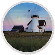 Stage Harbor Light Cape Cod Round Beach Towel