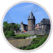 Stahleck Castle In The Rhine Gorge Germany Round Beach Towel